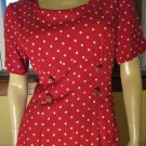 Retro 80s Does 40s 50s Rockin Red Polka Dot Pinup Pencil Dress Size 10
