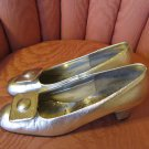 60s Mod Space Age Glitzy Glam Silver Shimmer Pumps Heels Party Shoes Sz 7