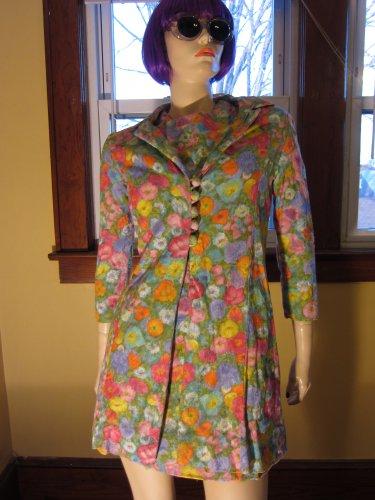 Vintage 70s Flirty Floral Springtime Watercolor Print Minidress and Jacket Set S.