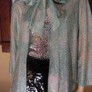 Vintage 70s Glitterama Glitzy Glam Tie Neck Shimmer Top Party Jacket M/L