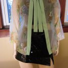 Vintage 70s Green Glam Sheer Chiffon Floral Tie Neck Top Party Jacket M.