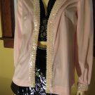 Vintage 70s Pink Girly Glam Sequin Trim Party Jacket Sz. 14