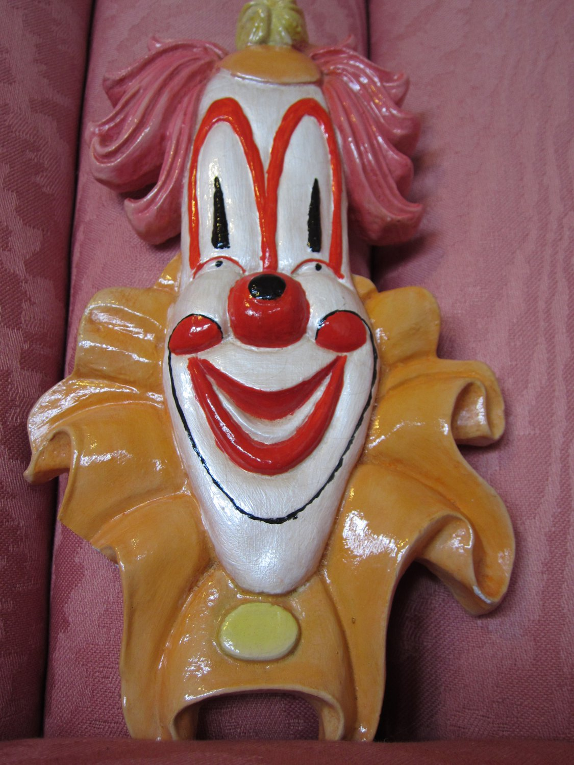 Vintage 60s 70s Creepy Cool Circus Clown Face Wall Plaque
