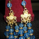 Vintage 60s 70s Glam Mod Blue Beaded Dangle Hippie Girl Fashion Earrings