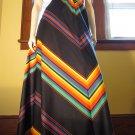 70s Funky Fashionista Chevron Rainbow Stripes Aline Maxi Skirt Sz. M.