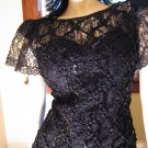 80s Gothic Glam Goddess Black Chantilly Lace Sequin Flairy Hem Formal Dress Sz. 6
