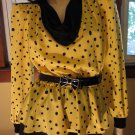 Vintage 80s Sexy Sassy Secretary Polka Dot Pinup Peplum Pencil Dress S/M