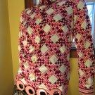 Rare Vintage 60s Mod Designer Mr. Dino Groovy Pink Geometric Op Art Shirt M.