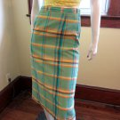 60s Swanky Hipster Green Plaid High Waisted Formfit Pencil Skirt S.