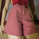 80s Does 50s Retro Rockin Red Gingham Rockabilly Pinup High Waisted Shorts SZ. 8