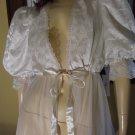 Vintage White Bridal Puff Slv Sheer Chiffon Nylon Peignoir Robe Tosca Lingerie L MINT  70s 80s
