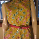 Vintage Swanky 60s Floral Watercolor Sleeveless Buttondown Top Sz 36