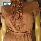 70s Sophisticated Secretary Pink Ruffles Lolita Dress M.