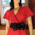 Sexy 70s Siren Retro Red Swiss Dot Flutter Sleeve Pinup Dress S/Petite