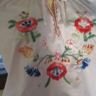 Boho Hippie Girl 70s Hand Embroidered Floral Puff Slv Peasant Blouse Tunic Top M/L