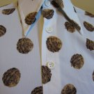 Zany 70s Whacky Walnut Print Nut Lover Men's Disco Designer Shirt Prince Igor by Burma M.