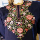 60s 70s Flower Child Floral Embroidered Blue Tunic Hippie Dress M.