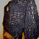 Vintage 70s Sheer Frilly Black Batwing Slvs Disco Queen Goth Lolita Party Top L.