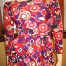 Vintage Pucci Style Print Psychedelic 60s Groovy Mod Maxi Dress XS