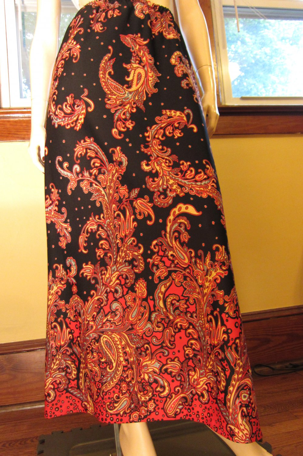 Vintage 60s Boho Hippie Psychedelic Floral Paisley Indian Style Maxi Skirt M.