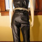 Sexy Biker Babe Black Leather Vest Top and Pants Bad Girl Rocker Outfit SZ 10/12 M.