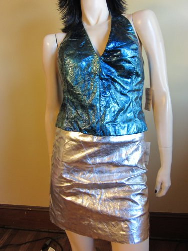 90s Bad Girl Metallic Leather Halter Top and Mini Skirt Sexy Outfit S/M upcycled destroyed ooak nwt