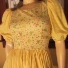 VTG 70s Dolly Lolita Puff Slv Girly Bow Print Ruffle Hem Circle Skirt Bluegrass Dress S/XS