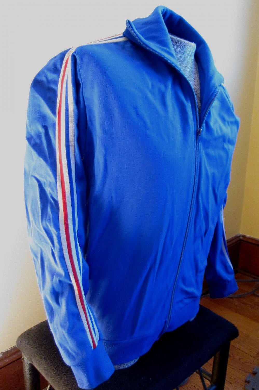 RARE VTG 80s OLD SKOOL Blue Stripes ADIDAS Ventex Athletic Jogging Tracksuit Jacket Made In FRANCE M