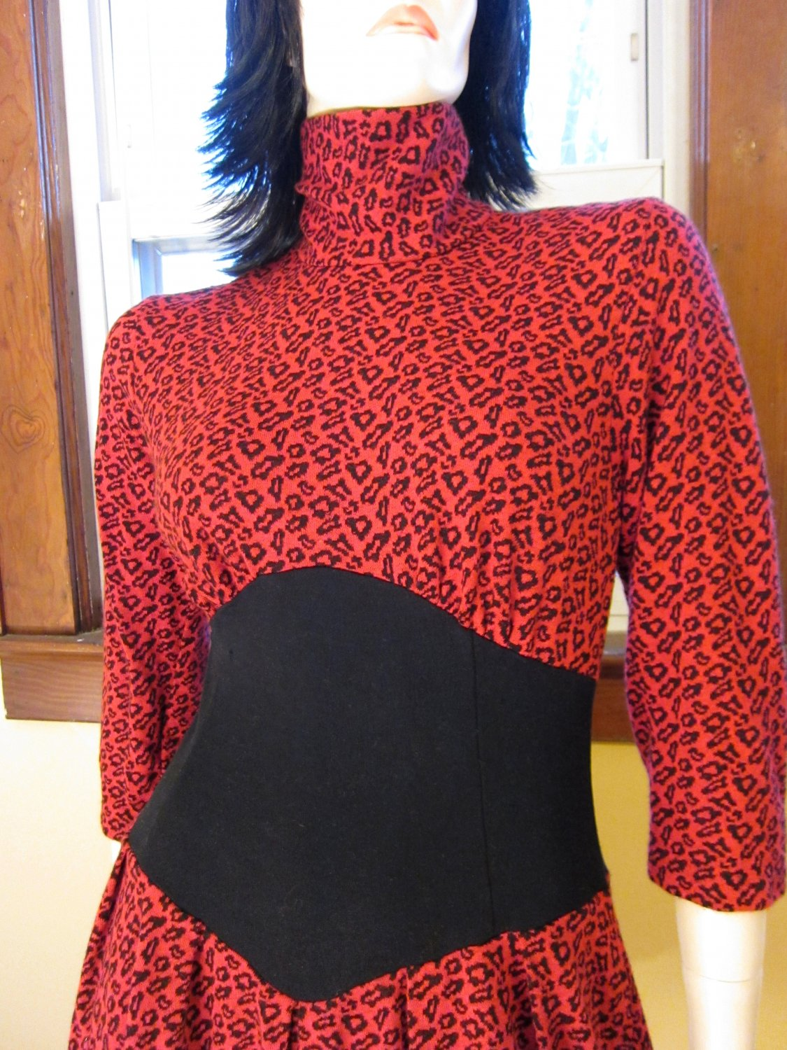 NYC Hipster Vintage 80s Flashy Red Leopard Print Minidress Punk New Wave Size 7/8