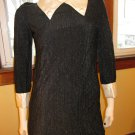 Mod Vintage 60s Gothic Lolita Black Glitter Glam Mini Dress M.