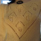 Vintage 80s Buttery Yellow Peekaboo Puff Sleeve Pointelle Sweater Top M.