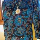 Vintage 80s Retro 60s Style Paisley Print Formfit Sweater Dress Sz 5/6