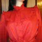 Vintage 70s LEVI STRAUSS & CO Western Rockabilly Red Polka Dot Ruffle Blouse Sz 16 M/L