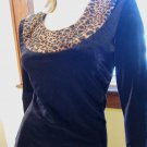 Vintage Vixenella Black Velvet Leopard Trim Collar Sexy Formfit Pinup Pencil Dress L. 80s 90s
