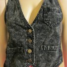 Vintage 80s Rock & Roll Hipster Black Acid Wash Denim Vest BE BOP Sz M.