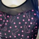 Simply Sassy Pink Pussycat & Polka Dot Print Party Girl Mini Dress HOT TOPIC XL