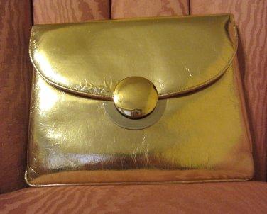 Vintage 60s Glimmery Metallic Gold MOD Evening Bag Purse Party Handbag Clutch Miss Lewis