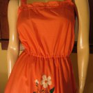 Vintage 70s Peachy Keen Floral Hand Embroidered Sundress M.