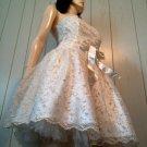 Retro 50s Prom Queen Princess Shimmer Chiffon Swing Kitten Party Mini Dress Jessica McClintock Sz 10