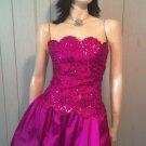 Ultra Glam Prom Queen Fuschia Sequin Bubble Skirt Party Mini Dress GUNNE SAX 5/6