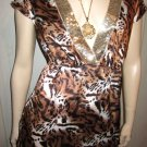 Sexy Cat Girl Leopard Print Glam Deep V Babydoll Pinup Top Blouse S