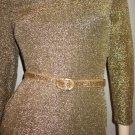 Vintage 80s Disco Gold Glitter Glam Sexy Formfit Lycra Mini Dress Sz S.