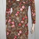 Boho Babe Vintage 70s Watercolor Floral Print Slinky 2 Piece Groovy Maxi Dress XS