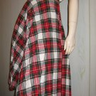 Vintage 70s School Girl Red Plaid High Waisted Pleated Wool Skirt S.