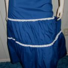 Vintage 70s Rockabilly Gal Blue Tiered Ruffle Bluegrass Swing Circle Skirt Sz S