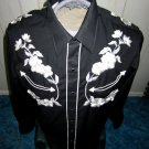Vintage 60s 70s Tem Tex Black Pearl Snap Rockabilly Cowboy Western Bluegrass Mens Shirt Sz 16-33 M/L