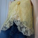 Boho Babe 70s Sunny Yellow Sheer Chantilly Lace Frilly Ruffle Vest Top L.