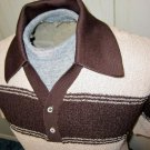 Vintage 70s Nifty Hipster Sporty Stripes Mens Hepcat Casual Shirt Sz M.