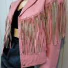 Ultimate 80s Biker Babe Vintage Pink Fringe Western Rocker Girl Leather Jacket El Venado S/M