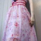 Designer ABS By ALLEN SCHWARTZ Pink Floral Chiffon Frilly Babydoll Party Dress Sz 8